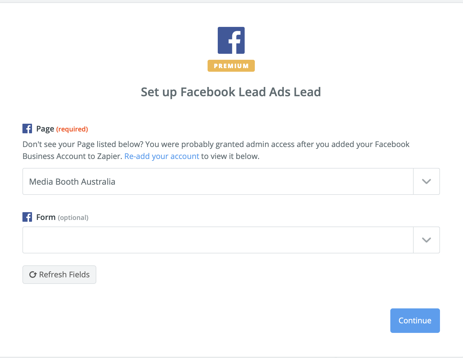 Select your facebook Page and then lead form you wish to email automatically