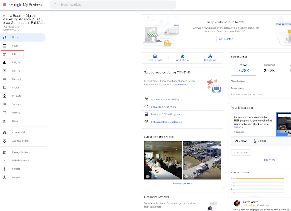 Step 2 - Google My Business Desktop